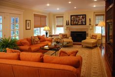 Burnt Orange Sofa Living Room Contemporary With