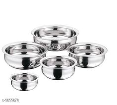 Pans STAINLESS STEEL HANDI SET OF 5  Material: Stainless Steel  Capacity: 0 - 400 ML , 1 - 600 ML , 2 - 900 ML , 3 - 1200 ML , 4 - 1600 ML. Description: It Has 5 Pieces Of Handi Sizes Available: Free Size *Proof of Safe Delivery! Click to know on Safety Standards of Delivery Partners- https://ltl.sh/y_nZrAV3  Catalog Rating: ★4 (4991)  Catalog Name: Dream Home Wonderful Kitchen Cookwares Vol 19 CatalogID_449220 C137-SC1595 Code: 294-3255278-