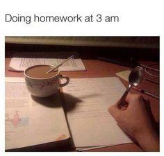 doing homework at 3am