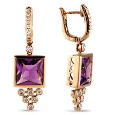 LAUREN B - DIAMOND AND AMETHYST 18K ROSE GOLD EARRINGS. 'Times Square' matching royal purple Amethyst framed in 18 karat rose Gold supporting brilliant Diamonds set in bezels in a triangular design all suspended from Diamond hoops. Total Diamond weigh 0.62 carats, F-G color, VS clarity Total Amethyst weight 7.78 carats Earring measures 1.5 inches in length. ☆$2,600.00☆