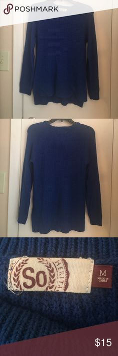 Sweater Blue sweater. 100% acrylic. Great condition. SO Sweaters