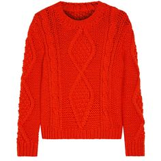 MM6 Maison Margiela Chunky cable-knit wool-blend sweater ($318) ❤ liked on Polyvore featuring tops, sweaters, bright orange, loose sweater, red top, wool blend sweaters, cable knit sweater and orange sweater