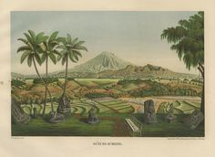 Gunung – Sumbing. by Franz Junghuhn ~ Year: 1853-54 A rare and beautiful coloured lithograph of the Gunung – Sumbing, Java. The print is from one of two German editions of the drawing of Franz...