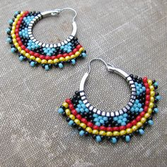 Tribal Hoop Earrings, Beaded Boho Hoops, Red black and blue earrings, southwest style Seed Bead Earrings, Blue Earrings, Feather Earrings, Beaded Earrings, Beaded Jewelry, Crochet Earrings, Beaded Bracelets, Hoop Earrings, Artisan Jewelry