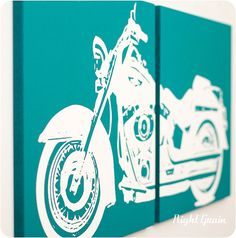 For Tobys roon <3 Harley Davidson Motorcycle Screenprint Wall Art in by RightGrain, $45.00