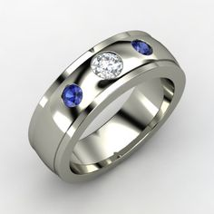 14K White Gold Diamond Ring with saphire accent stones