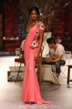 Monisha Jaising at India Couture Week 2014 - pink sari with floral long blouse
