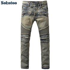 KOSMO Lupo Uomo Jeans Tempo Libero Pantaloni Denim Clubwear Japan Style Nero Dope