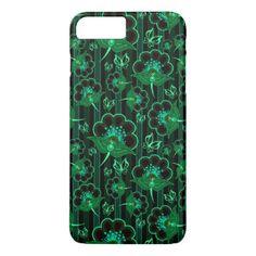 Cute green black seamless flowers patterns iPhone 7 plus case