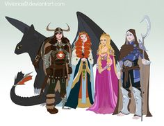 Hiccup, Merida, Rapunzel, and Jack Frost all grown up!  Buuut Rapunzel should have brown hair..