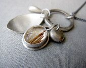 RESERVED ---  Clink Necklace - Sterling Silver and Routilated Quartz Stone Charm Necklace