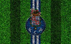 تحميل خلفيات FC Porto, 4k, شعار, كرة القدم العشب, البرتغالي لكرة القدم, الأزرق خطوط بيضاء, الدوري الأول, بورتو, البرتغال, كرة القدم