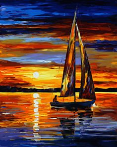 Frameless  painting by numbers diy picture oil painting on canvas for home decor abstract painting sailboat in sunset
