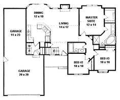 2 bedroom house plans 1000 square feet home plans for Ranch house plans with bedrooms together