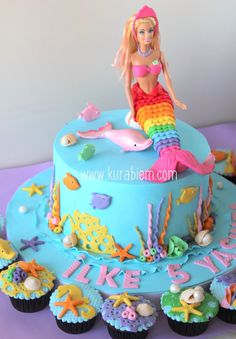 New Mermaid Birthday Party Cake Barbie Ideas Barbie Birthday Cake, Mermaid Birthday Cakes, Mermaid Cupcakes, Girl Cupcakes, Birthday Cake Girls, Birthday Cupcakes, Birthday Kids, Princess Birthday, Princess Cupcakes