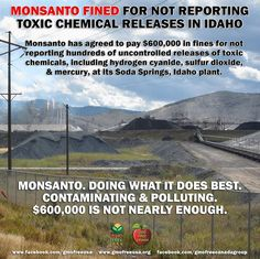 """MONSANTO STRIKES AGAIN. This time in Soda Springs, Idaho. Monsanto has agreed to pay $600,000 in fines for not reporting hundreds of uncontrolled releases of toxic chemicals, including hydrogen cyanide, sulfur dioxide, nitrogen oxides and mercury, at its Soda Springs plant. """"Each of these chemicals are hazardous and can pose serious health risks to workers and the community if mishandled or released in an uncontrolled manner,"""" federal officials said in a statement.  Monsanto is just doing…"""