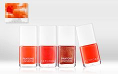 Tangerine Tango Collection from Sephora. Butter polishes are great, offering quick coverage and vibrant hues. Tangerine is super hot this season and on your toes is a safe way to incorporate the trend