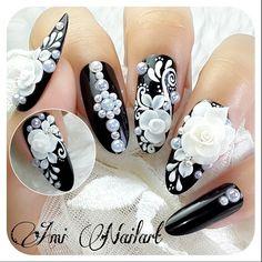 ❤Black and White❤ Ga bisa ikutan bnw di 😢😭 Lace Nails, Rhinestone Nails, Bling Nails, Flower Nails, 3d Acrylic Nails, 3d Nail Art, 3d Nails, Art 3d, 3d Nail Designs