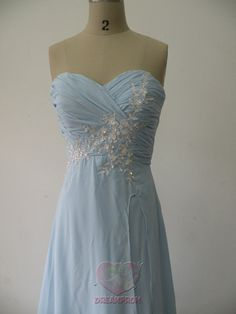 Handmade Custom Real Photo Sky Blue Appliques Ruched Formal Long Prom Evening Party Bridesmaid Cocktail Homecoming Dress Gown on Etsy, $119.99