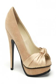 ce1d7e1284c Champagne Faux Suede Leather Satin Peep Toe Pumps Peep Toe Platform