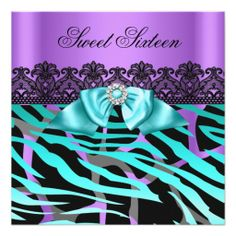 Sweet 16 Gorgeous Purple Teal Black Zebra Party