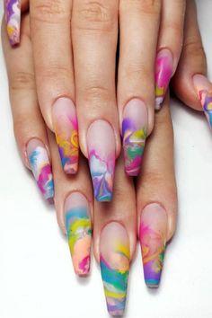 Nagellack Design, Nagellack Trends, Gel Nails, Nail Polish, Coffin Nails, Tie Dye Nails, Fire Nails, Best Acrylic Nails, Stylish Nails
