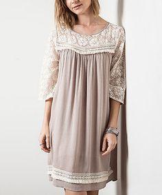 Latte Lace Trim Tunic Dress #zulily #zulilyfinds