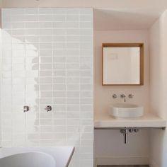 Polar White Glazed Rectangle Tile | Tiles - Handmade | Bert & May White Tile Shower, White Subway Tile Bathroom, Modern White Bathroom, White Tiles, Bathroom Shower Tiles, White Tile Backsplash, Shower Rooms, Blue Kitchen Interior, Bert And May Tiles