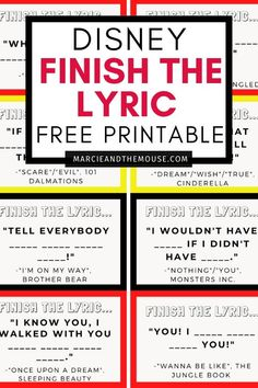 Looking for a fun, family game printable? This Finish the Lyrics Game: Disney Edition is the ultimate Disney travel game perfect for road trips or airplane rides. It's also fun for family game night! Disney Songs, Disney Trips, Disney Love, Disney Travel, Family Fun Games, Family Fun Night, Finish The Lyrics, Disney Printables, Charades