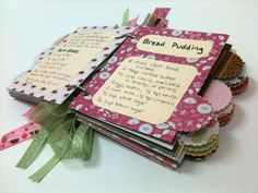 recipe scrapbook! would be cool to make one of these with all my mom/grandma's recipes inside