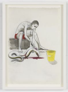 Untitled(Eel Gutter)-2013-Pencil and ink on paper-http://www.pilarcorrias.com/artists/charles-avery/