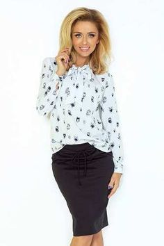 Prezzi e Sconti: #White owl pattern shirt with self tie bow  ad Euro 25.63 in #Cocofashion #Clothing blouses