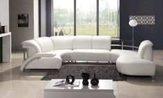 VIG Furniture - Modern White Leather Sectional Sofa 104 - VGEV104