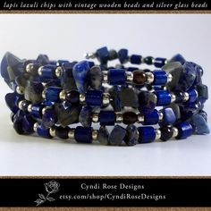 Items similar to Wrap around, beaded bracelet with deep blue lapis lazuli chips, vintage wood beads from Germany, and silver colored glass seed beads on Etsy Beaded Jewelry, Beaded Bracelets, Unique Jewelry, Semi Precious Gemstones, Vintage Wood, Wooden Beads, Lapis Lazuli, Colored Glass, Deep Blue