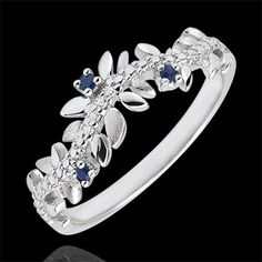 sell on line Ring Enchanted Garden - Foliage Royal - white gold, diamonds and sapphires - 9 carats