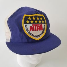 National Tractor Pullers Assoc Vintage Snapback Trucker Hat Mesh Patch NTPA  USA Blue b78b2a49dd54