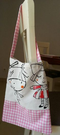 Girl tote bag gingham tote bag by LilyCocobyAnaatta on Etsy, €9.00
