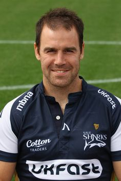 Charlie Hodgson Photos Photos - Charlie Hodgson of Sale Sharks poses for a portrait at the Sale Sharks team squad photo day at Edgeley Park on August 2009 in Stockport, England. Squad Photos, Sharks, Polo Ralph Lauren, England, Poses, Portrait, Mens Tops, Cotton, Jackets