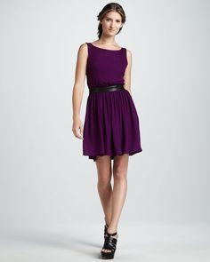 cdeffea3a0 Alice + Olivia Nell Leather-Waist Dress