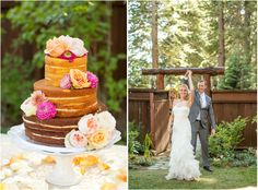 Naked wedding cake. Lakefront Lake Tahoe wedding from One Fine Day Events and Mike Larson Photography.