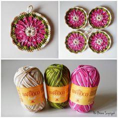 Aprendiz de Crocheteiras: Porta Copos com Barroco Fast   Ganhe Mais Círculo
