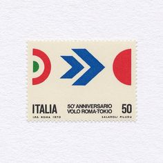 50th Anniversary of Flight between Rome and Tokyo (50). Italy, 1970. Design: S. Salaroli + F. Piludi. #mnh #graphilately