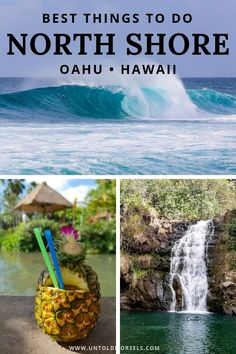 North Shore Oahu Hawaii – head to Oahu's North Shore for surfing, waterfalls, sea turtles, beaches and adventure. Read our … North Shore Oahu, North Shore Beaches, Oahu Beaches, Tropical Beaches, Hawaii Travel Guide, Travel Tips, Budget Travel, Travel Destinations, Holiday Destinations