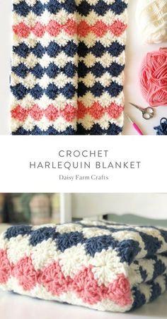 Free Pattern - Crochet Harlequin Blanket #crochet