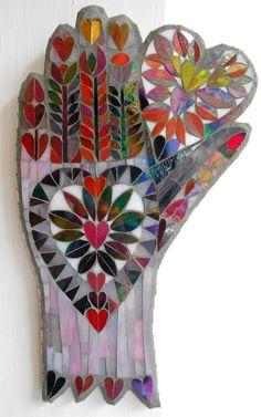 Mosaic Valentine Folk Art Hand