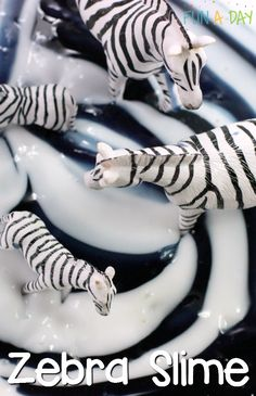 Easy Zebra Slime for a Preschool Zoo Theme Make this super easy zebra slime for a preschool zoo theme (older kids would love it too)! Fun and simple sensory play for the kids - Monde Des Animaux Preschool Zoo Theme, Jungle Activities, Zoo Activities Preschool, Teach Preschool, Preschool Centers, Preschool Printables, Sensory Activities, Preschool Activities, Safari Crafts