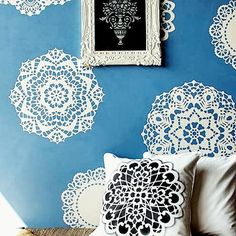 This DIY doily stenciled wall brings granny-chic to a whole new level! Find more DIY and home decor inspiration on StuffDOT! #DIY #doily #accentwall #homedecor