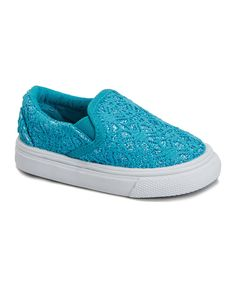 Look what I found on #zulily! Zula Shoes Turquoise Glitter Lace Slip-On Sneaker by Zula Shoes #zulilyfinds