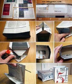 En esta imagen, pueden ver como hacer, paso a paso, una bolsa de papel reciclado para regalo.