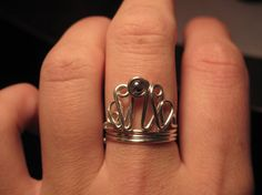 Wire Wrapped Princess Tiara or Crown Adjustable Ring MADE to ORDER With Silver Bead
